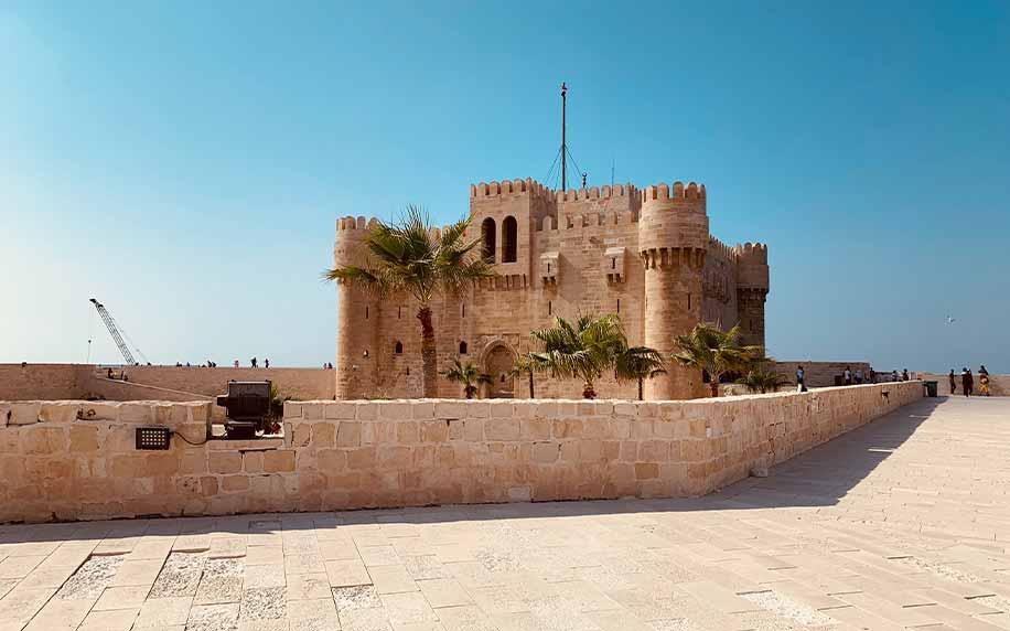 A shot of the qaitbay citadel and battlements