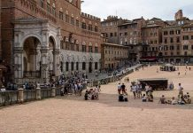 a shot of the medieval square in Siena