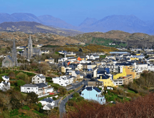 Aerial view of Clifden in Galway County