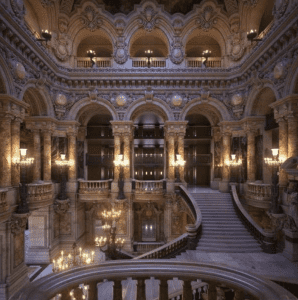 The grand staircase in El Zaafarana Palace is lit by candles giving it this romantic feel in Egypt.
