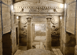 Photo of the interior of the catacombs in Egypt.