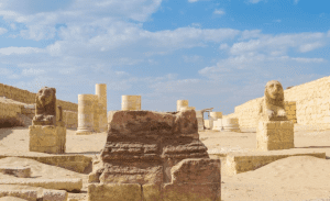 Statues and blue skies in El Fayoum's Mdniat Madi Temple