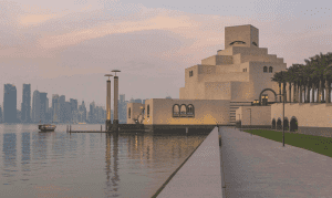 Sun sets over Museum of Islamic Arts in Egypt.