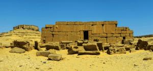 Wide shot view of the front of Qasr El Sagha Temple in El Fayoum
