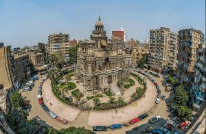 Aerial 360 view of El Sakkakini Palace in Egypt