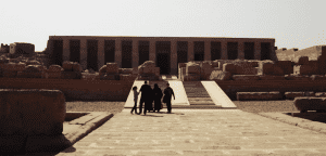 Wide shot of the Temple of Seti I in Sohoag, Egypt