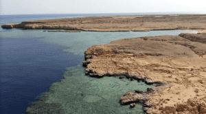 Aerial view of Abu Gallum Reserve in Dahab