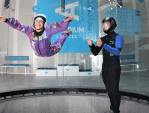 A woman flies at the Aerodium attraction in Slovenia