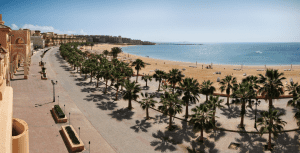 Overview of beach in Sahl Hashish