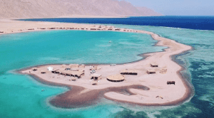 Aerial view of the Blue Lagoon located in Dahab