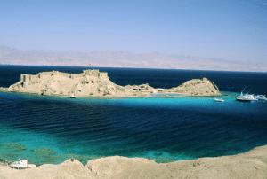 Aerial view of Pharaoh's Island in Dahab