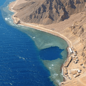 Aerial views of the blue hole in Dahab a popular diving spot