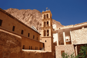 View of the exterior of the church in Saint Catherine
