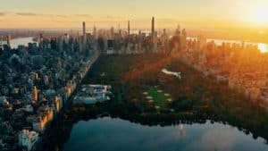 Aerial view of Central Park in New York City at sunset