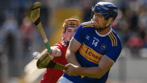 two men scrap after at the hurling match in Ireland