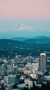 The skyline of Portland at sunset in the Pacific Northwest
