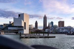 The exterior and skyline of Cleveland in America
