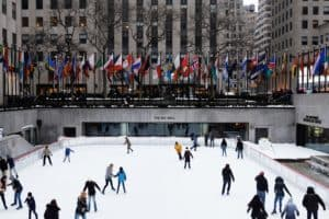 The ice skating rink open at the Rockefeller Center in New York City