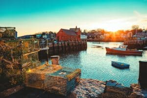 The docks of Rockport in New England