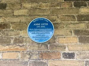 A plaque commemorating Anne Lister at Shibden Hall