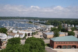 An Aerial view of the bay and town of Stonington Borough in New England