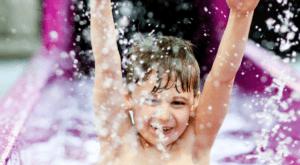A boy splashes around at the indoor water park in Belfast